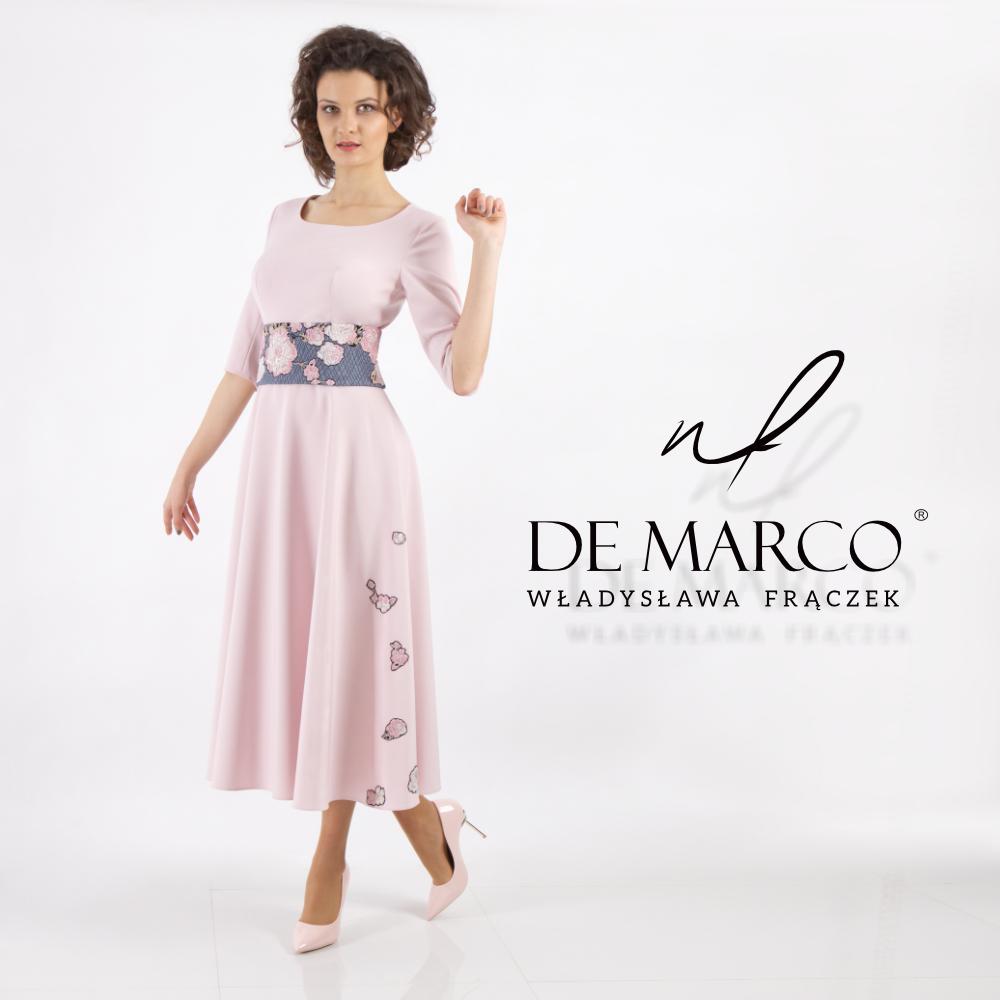Wizytowa sukienka w stuli vintage, do połowy łydki na wiosenne uroczystości, wesela, komunię itd. Sklep internetowy polskiej projektantki mody W. Fraczek.