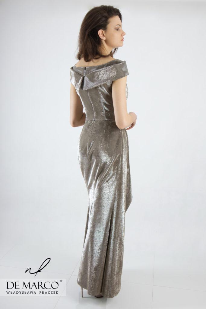 Długa suknia balowa dla mamy wesela, szycie na miarę u projektantki z Małopolski.