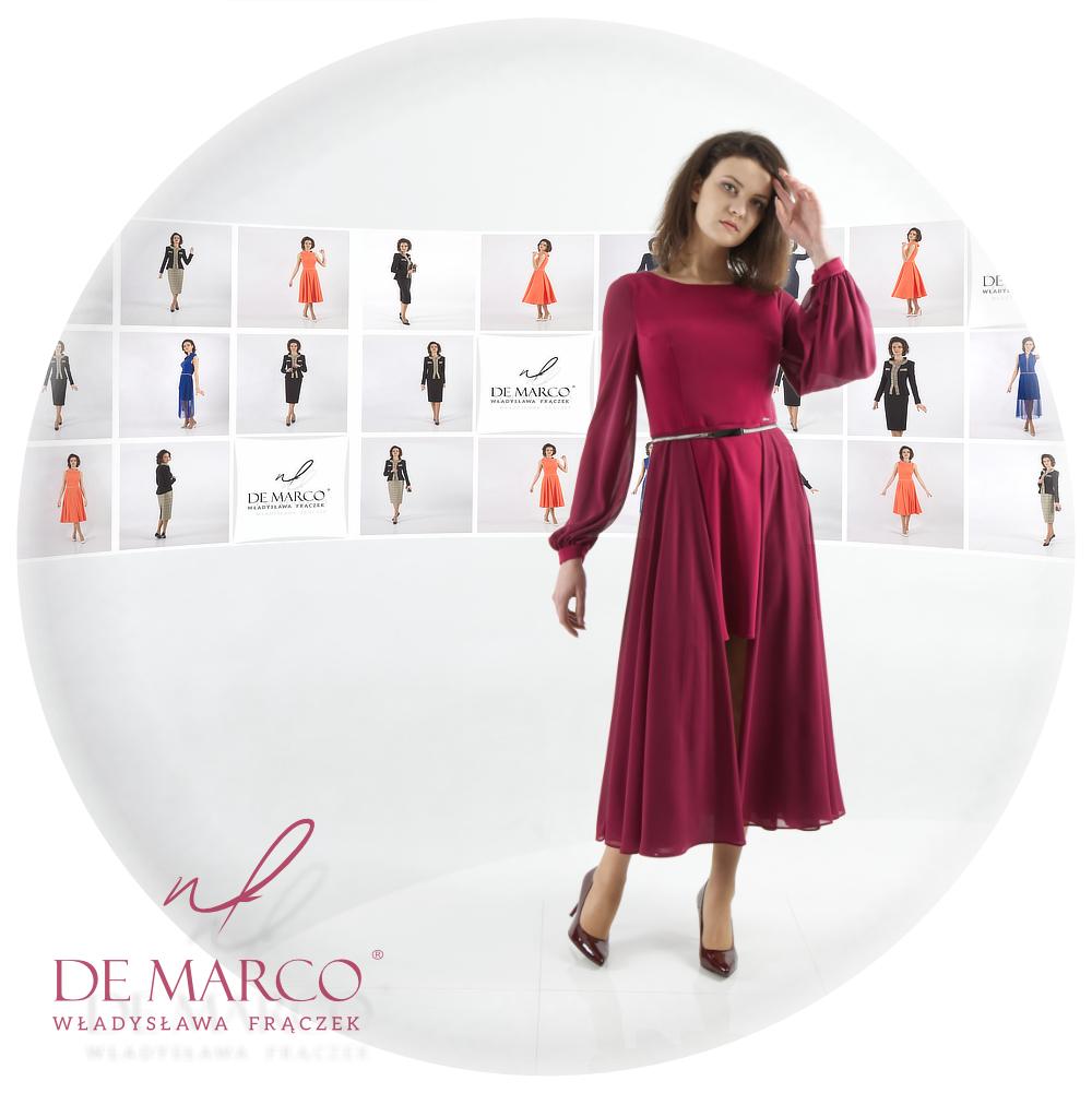 Eleganckie wizytowe sukienki dla dojrzałych kobiet. Szycie na miarę w pracowni krawieckiej De Marco
