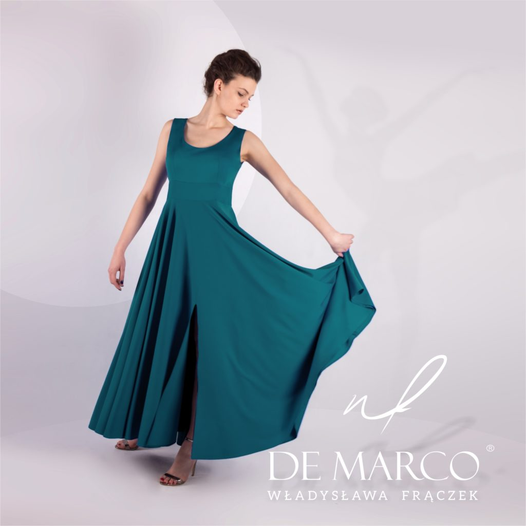 zielona długa suknia na wesele, szyta na miarę w atelier W. Frączek.