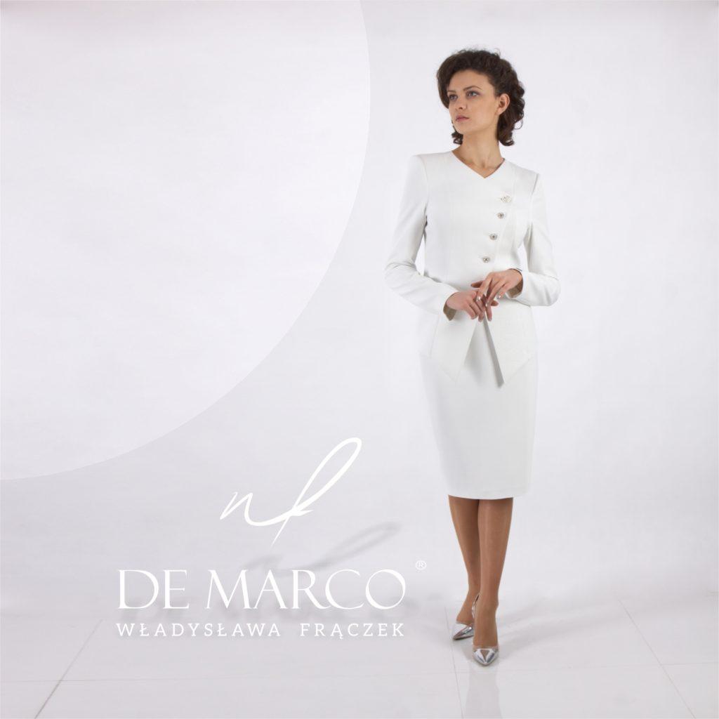Wizytowy kostium dyplomatyczny, szyty na miarę w atelier W. Frączek, Salon Mody De Marco.