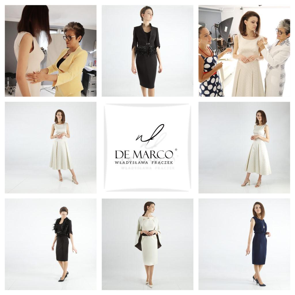 Ekskluzywna polska odzież dla dojrzałych kobiet. Sukienki, garsonki, kostiumy damskie De Marco szyte na miarę w atelier W. Frączek.