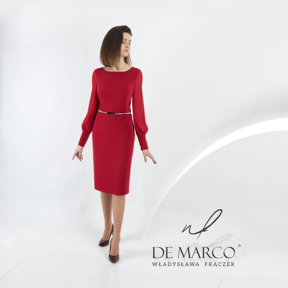 Elegancka wizytowa sukienka z rękawami szyta na miarę w De Marco. Najmodniejsze bordowe sukienki.