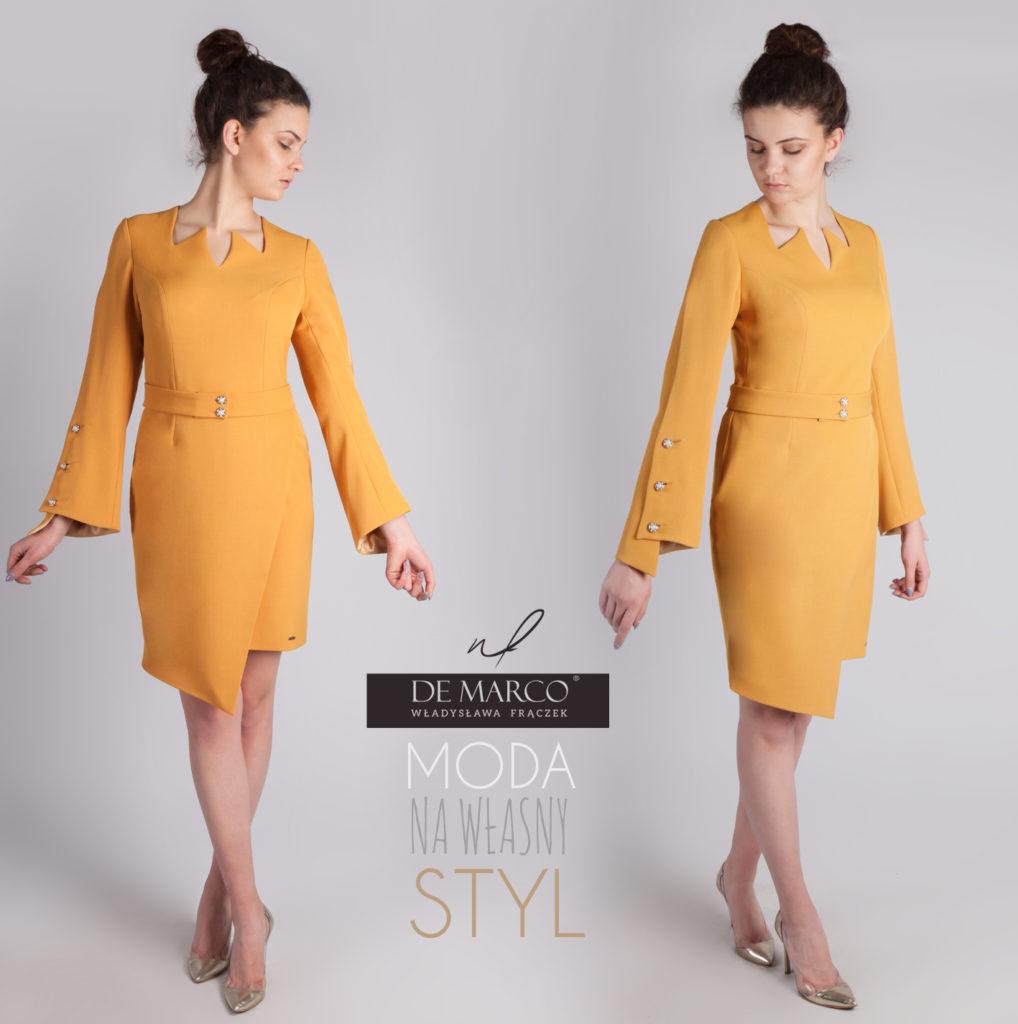 Elegancka wizytowa sukienka z rękawem. Musztardowa kreacja na jesień.