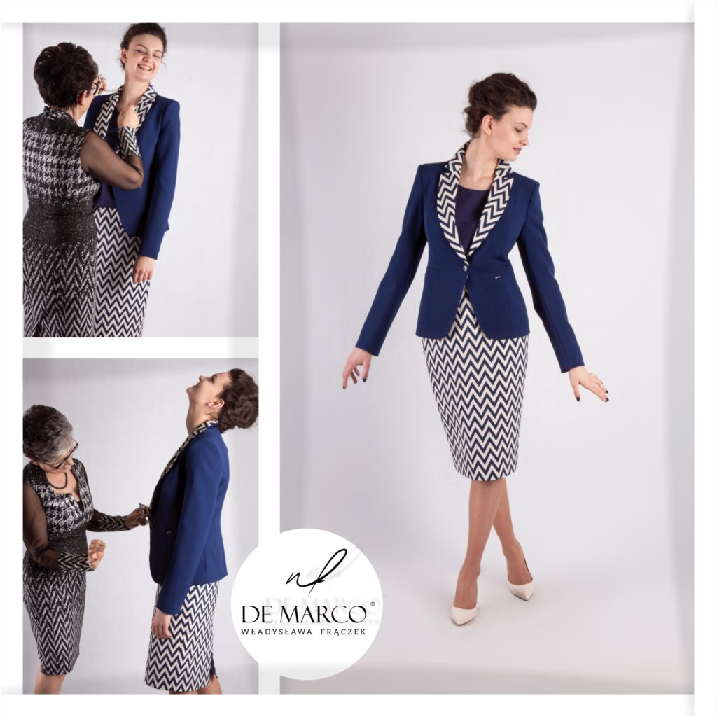 Elegancki klasyczny kostium damski do biura.