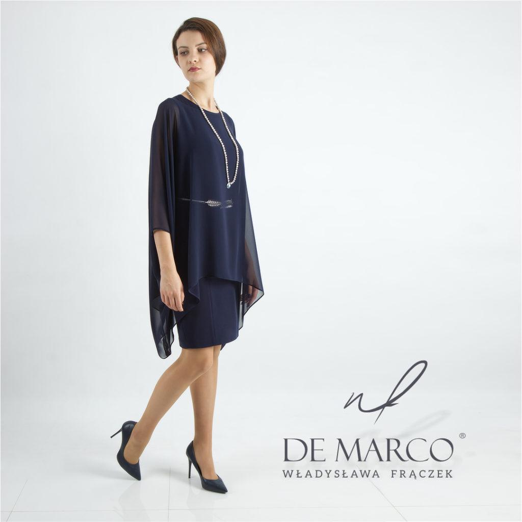 Elegancki komplet damski sukienka z bluzką maskującą rozmiar XL