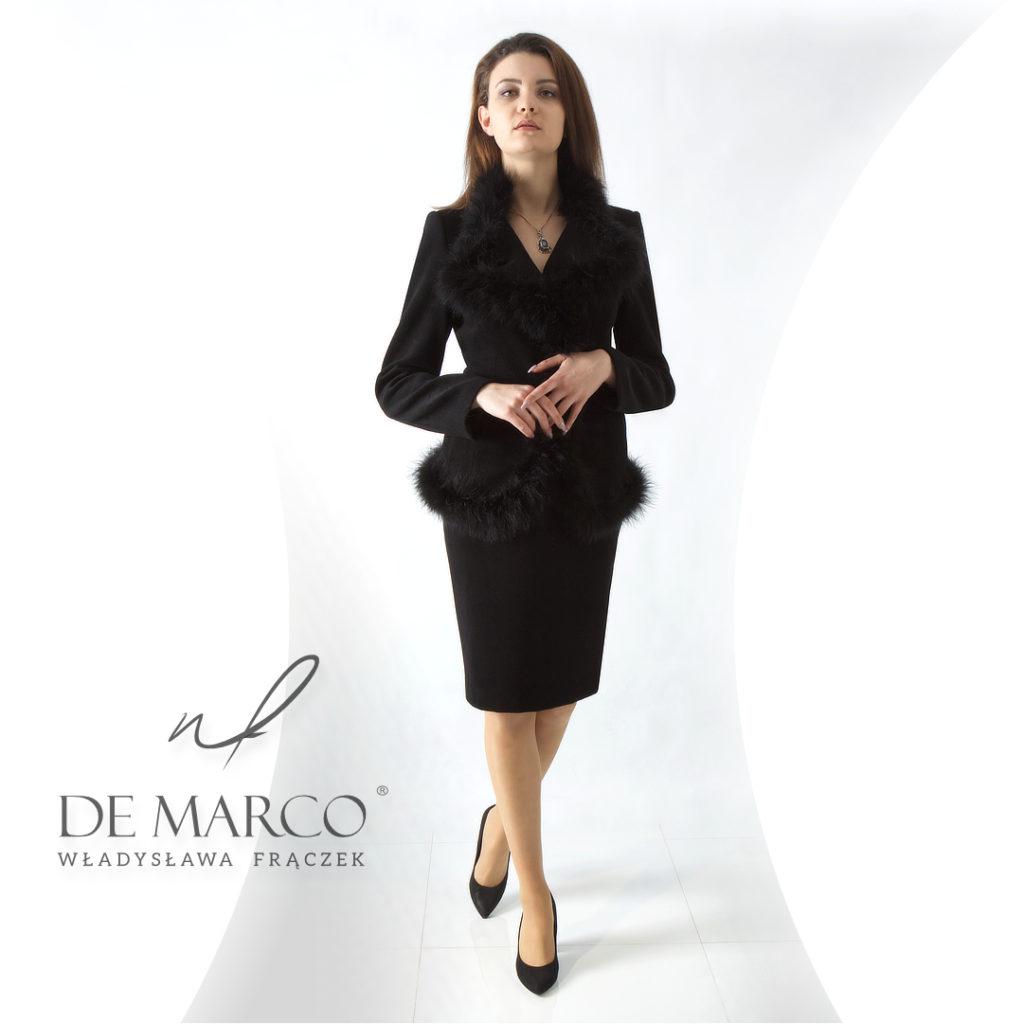 Ekskluzywny płaszcz, zimowy kostium z wełny szyty na miarę w De Marco.