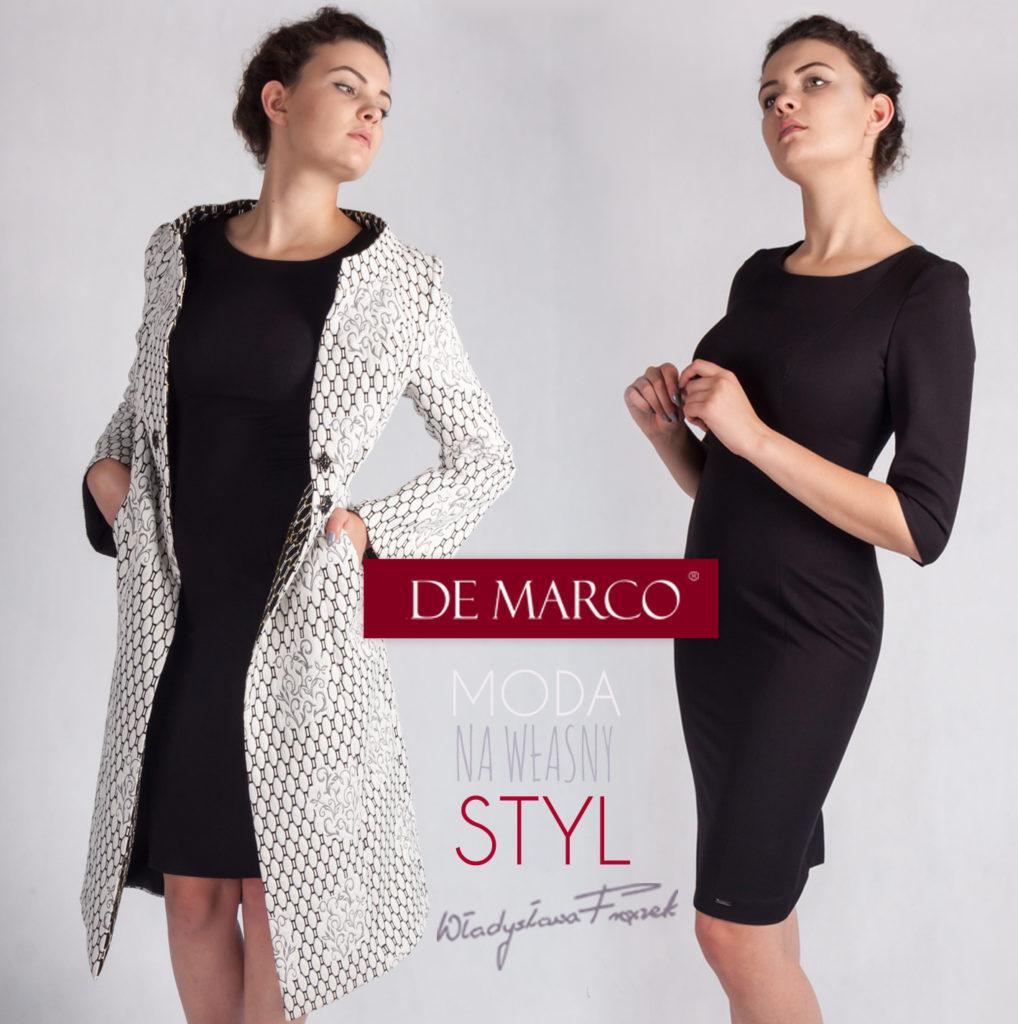 Biznesowa czarna sukienka z płaszczem z De Marco