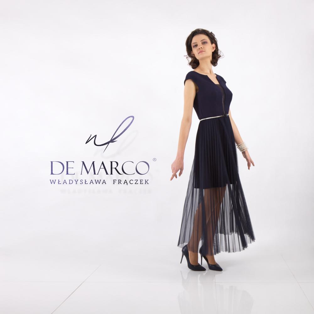 Granatowa sukienka z plisowanym dołem idealna na wesele i na wieczór autorski