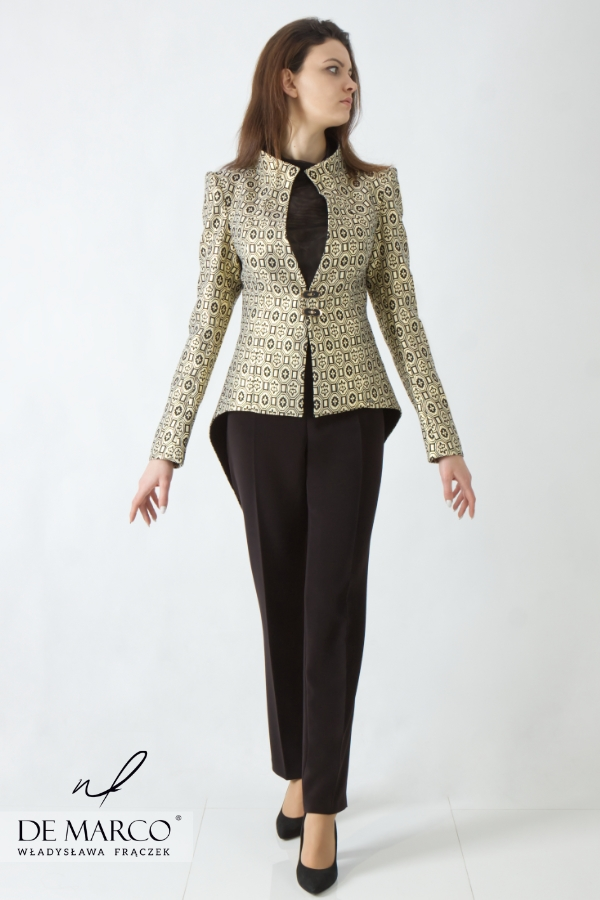 Ekskluzywne wieczorowe garnitury damskie od znanej polskiej projektantki dostępne są na sklepie internetowym De Marco.