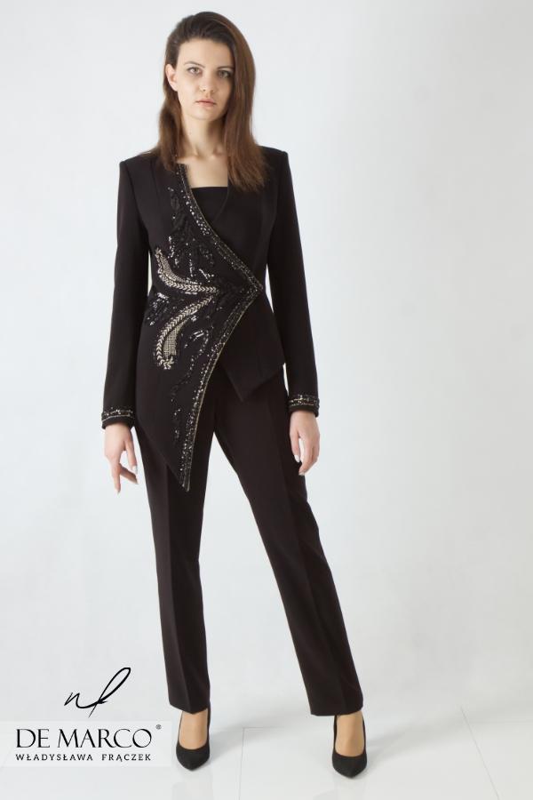Ekskluzywne garnitury damskie, najmodniejsze stylizacje dla eleganckich kobiet z charakterem.